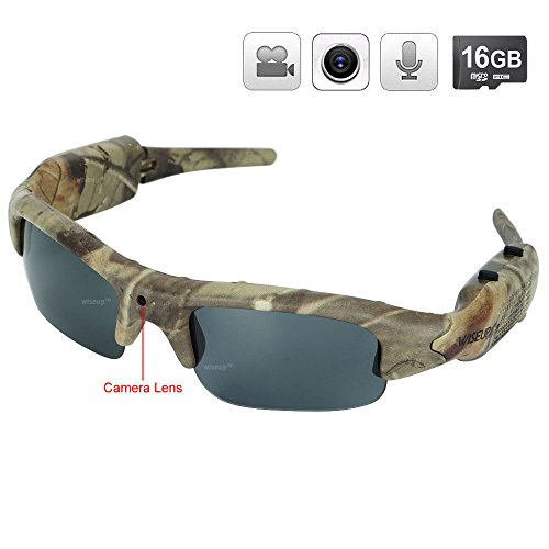WISEUP 16GB 1280x720P HD Camo Sunglasses Hidden Camera Hunting Glasses Video Recorder Mini DV Camcorder Support Photo - Sunglasses Action View