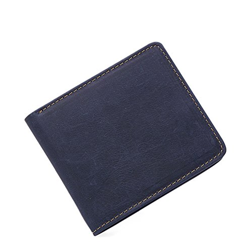 MuLier Bifold Slim Genuine Leather Thin Minimalist Front Pocket Wallets for Men - Made From Full Grain Leather (Horizontal & Blue) ()