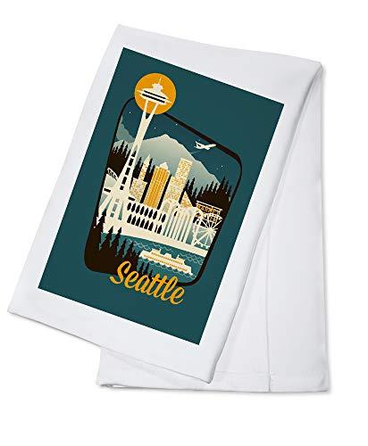 Seattle, Washington - Retro Skyline - Badge (100% Cotton Kitchen Towel)