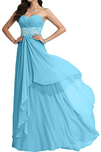 ivyd ressing Mujer Exquisite Corazón de recorte a de línea piedras fijo vestido largo Party Prom vestido para vestido de noche Azul