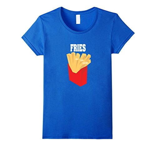 Womens French Fries Couples Halloween Costume Shirt Burger & Fries Medium Royal (Couples Halloween Costumes Ideas To Make)
