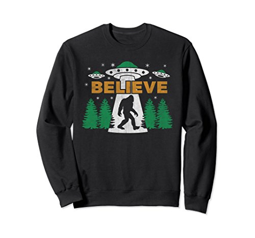 Unisex Bigfoot UFO Aliens Sweatshirt BELIEVE Sasquatch Gift Small Black Believe Sweatshirt