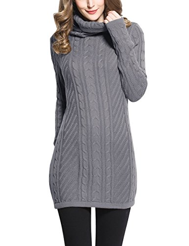 Rocorose Womens Turtleneck Long Sleeves Cable Knit Long Sweater