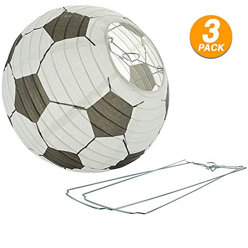 Ram Pro Soccer Ball Paper Lanterns Decoration Set Soccer Goal Birthday Party Decoration Reusable Hanging Japanese Paper Lantern Great for Sports Fan FIFA World Cup Parties Decoration