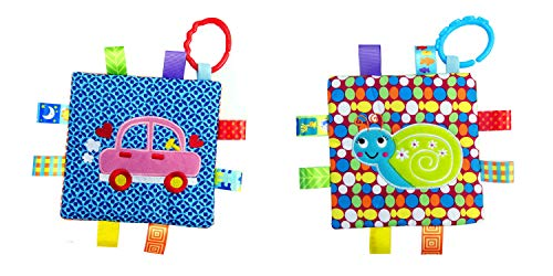 Little Taggie Like Theme Baby Sensory, Security & Teething Closed Ribbon Style Colors Security Comforting Teether Blanket - Snail & Car 2-Pack w/Gift Box by J&C Family Owned