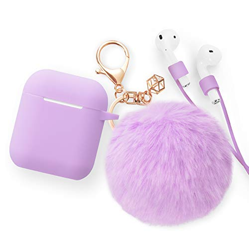 Airpods Case - BlUEWIND Drop Proof Air Pods Protective Pom Pom Keychain Case Cover Silicone Skin for Apple Airpods 2 & 1 Charging Case, Cute Fur Ball Airpods Keychain/Strap, Lavender Purple