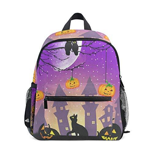Halloween Pumpkin Owl Black Cat School Backpack For Girls Kids Kindergarten School Bags Child Bookbag]()
