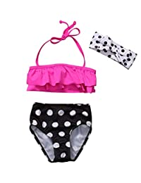 Lzxuan Kid Girls Swimsuit Ruffle Bikini Polka dot Pants Halter Neck Swimwear Bathing Suits Sets Pink