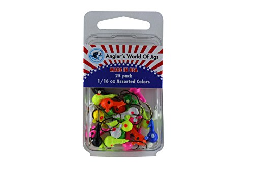 Angler's World of Jigs - Round Freshwater Fishing Jig Heads - Bright Assorted Colors - Two Tone Glow (1/16 oz Assorted Colors, 25 Pack) (Fish Crappie Ice)