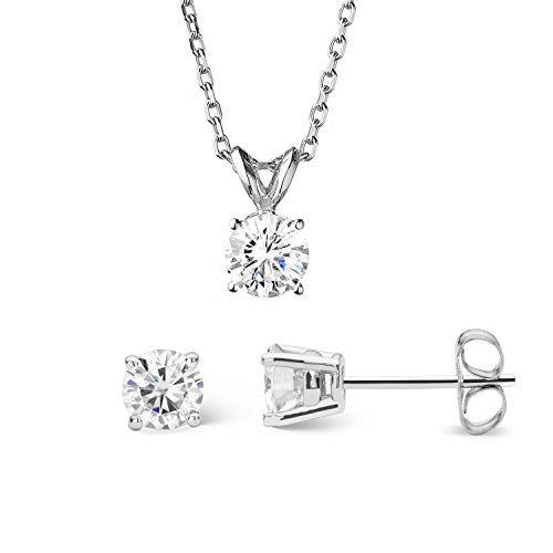 (Forever Classic Round Cut 6.0mm Moissanite Earrings and Pendant Necklace Set by Charles & Colvard)