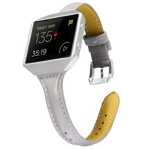 Leather Polished Frame - Wearlizer Compatible for with Fitbit Blaze Band Leather New Metal Frame Classic Genuine Leather Wristband Strap Accessory Fit bit Blaze Sleam Leather Band Grey