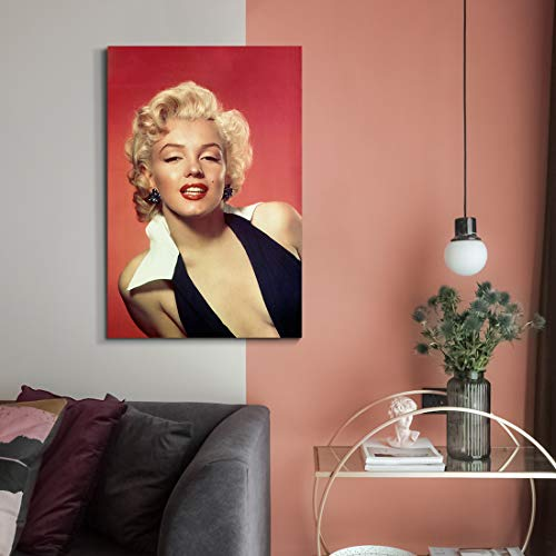 """Denozer - Marilyn Monroe Canvas Wall Art Painting Classic Female Portrait Artwork for Living Room Bedroom Home Decor,Stretched and Framed Ready to Hang - 24"""" x 36"""""""