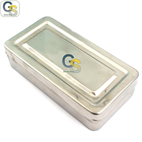 G.S 8''X4''X2'' INSTRUMENT TRAY WITH LID HOLLOWARE DENTAL WITH OUT LOCK HOLLOWARE INSTRUMENTS BEST QUALITY by G.S ONLINE STORE (Image #1)