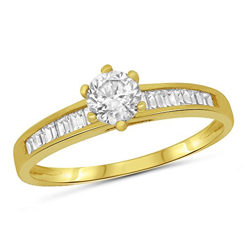 14k Yellow Gold Round Solitaire with Channel Set Baguette Side Stones Engagement Ring - Size 5 (Sides Ring Baguette)