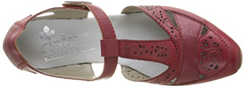 Rieker 49780-00 Scarpe con Cinturino alla Caviglia Donna, Nero (Schwarz/leinen/schwarz)