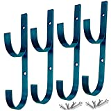 MENG ZHI AO 4 PCS Set Pool Pole Hangers Heavy Duty Blue Aluminium Holder Hooks with Screws Perfect Hooks for Swimming Pool,Telescopic Poles,Skimmers,Nets Brushes,Vacuum Hose,Garden Equipment Etc