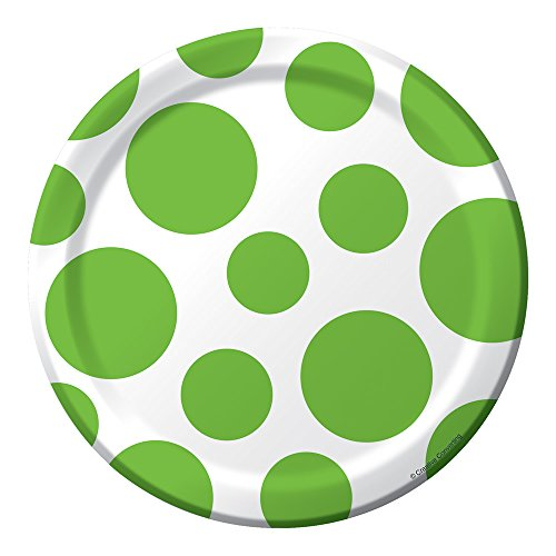 Creative Converting 413123 96 Count Round Small/Dessert Paper Plates, Fresh Lime Dots