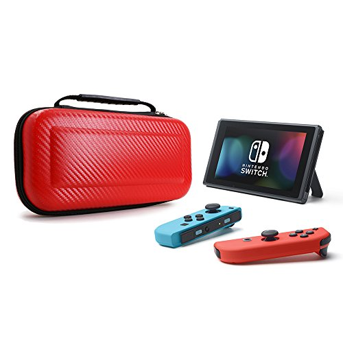 Nintendo Switch Deluxe Travel Carrying Case, YOUSHARES PU Large Capacity Waterproof Hard Shield Protective Case for Nintendo Switch Console with Joy-Con Controller 2017 (Red)