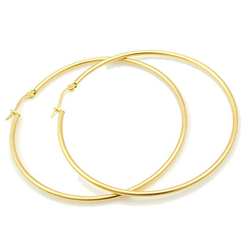 IDB Stainless Steel Big Hoop Earrings - Gold or Silver - 6 different sizes to choose from (Gold 2.3 inches (60mm)) (Gold 60 Hoops Mm)
