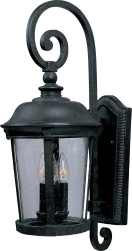 Maxim 40095CDBZ Dover VX 3-Light Outdoor Wall Lantern, Bronze Finish, Seedy Glass, CA Incandescent Incandescent Bulb, 40W Max, Dry Safety Rating, Fabric Shade Material, Rated Lumens - Bronze Dover Wall Lantern