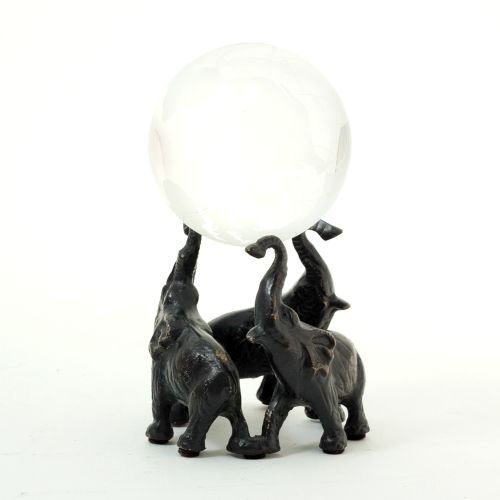 Bey-Berk Elephant Ball Holder, Solid Brass, Patina Finished, Brown