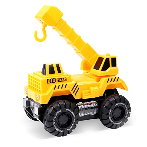 Jolian Automatic Steering Car, Crane Fully Functional, Engineer Construction Vehicle with LED Flashing Lights, Music and Bump & Go Action, Toys Gift for Kids Ages 3+ Yrs