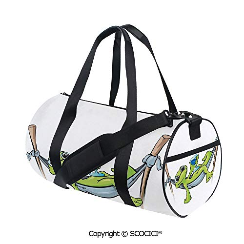 Nylon Ribbon Sports Backpack,Bohemian Frog Prince on Hammock with Wine Little Mascot Relax Peace in Garden DecorativeBarrel Bag for Women and Men,(17.6 x 9 x 9 in) Green Blue Gray