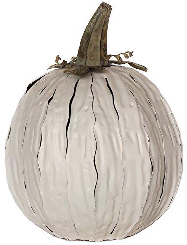 Desert Steel White Squatty Pumpkin Lantern – Handcrafted Luminary ()