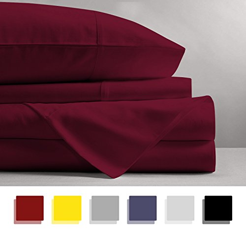 Mayfair Linen 100% EGYPTIAN COTTON Sheets, BURGUNDY QUEEN Sheets Set, 800 THREAD COUNT Long Staple Cotton, SATEEN Weave for Soft and Silky Feel, Fits Mattress upto 18'' DEEP Pocket (Burgundy Yarn Cotton)
