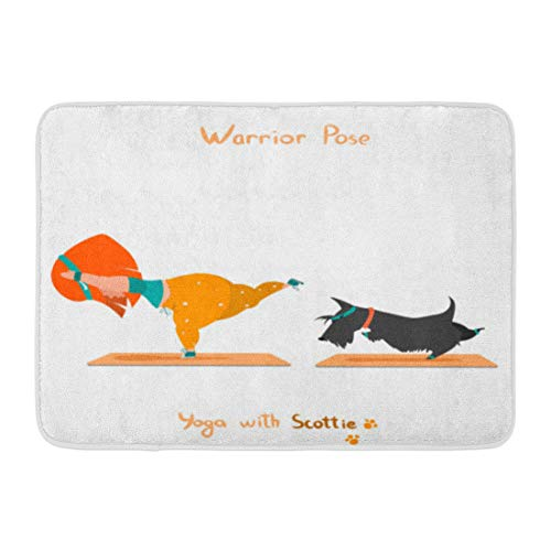 - Emvency Bath Mat Black Animal Warior Pose Virabhadrasana Cute Little Girl and Her Dog Scottie Doing Yoga White Beautiful Bathroom Decor Rug 16