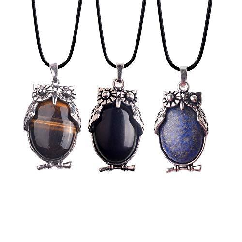 Lullabb 3PCS Tiger Eye Black Onyx Lapis Lazuli Pendant Necklace for Women Men Girl Charm Choker Stone Crystal Chakra Jewelry Chain