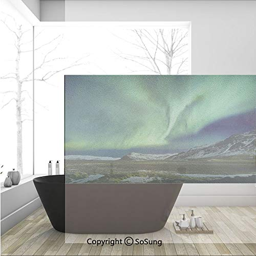 3D Decorative Privacy Window Films,Flash of Aurora Polaris Above Mountains in Night Picture,No-Glue Self Static Cling Glass Film for Home Bedroom Bathroom Kitchen Office 36x24 Inch]()