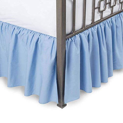 Fabricalicious Linen Twin XL Blue Ruffled Bed Skirt 21 inch Drop Split Corner, Wrinkle & Fade Resistant