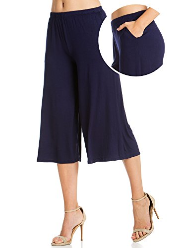 FACA Womens Elastic Waist Jersey Culottes Capri Length Pants with Side Pockets (Small, Midnight - Jersey Length