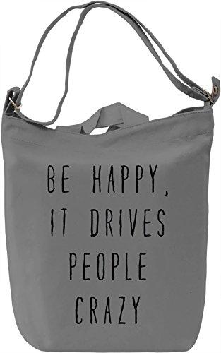 Be Happy Borsa Giornaliera Canvas Canvas Day Bag| 100% Premium Cotton Canvas| DTG Printing|