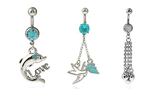 JDXN 316L Stainless Steel Dolphin LOVE Bird Heart Tassel Navel Belly Button Rings Dangle For Women (5PCS mixed)