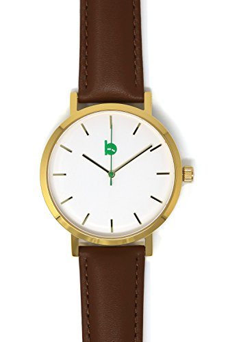 Gold Accent Series (Brandywine Watches Founders Series Watch (Gold Case/Brown Leather Band))