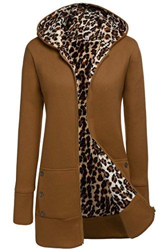 Meaneor Women's Hood Military Jacket Parka Coat Outerwear Camel (Fleece Leopard Coat)