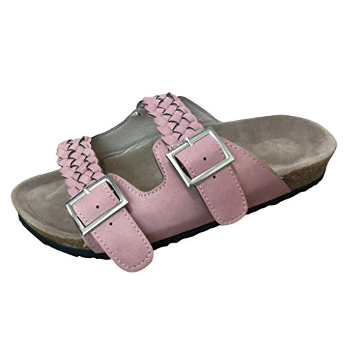 Tantisy ♣↭♣ Women's Comfort Double Buckle Indoor Outdoor Cork Sandal Comfortable Slide Classic Mocha-Suede Women's Sandal -