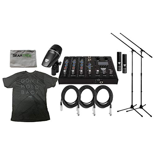 Sabian SSKIT 4 Piece Drum Mic & Mixer Kit w/ 2 Mic Boom Stands and 3 XLR Mic Cables