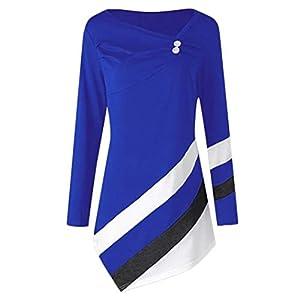 UONQD Women Chiffon Sleeveless Casual Fashion Asymmetric Blouse Shirts Top(Small,Dark Blue)