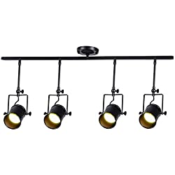 Vintage Ceiling Spot Track Light, MKLOT Adjustable 4-Light Lighting Spot Light with Cone Black Shades,Dark Bronze Finish