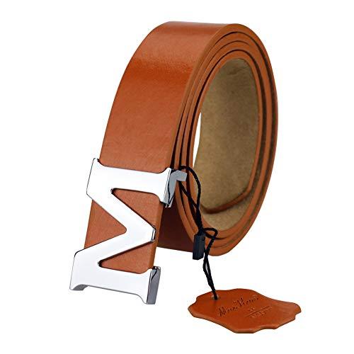 Womens Leather Belts Removable Letter M Plate Buckle Waist Belt 1.18