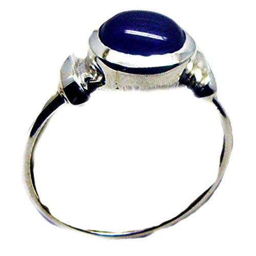 Natural Lapis Lazuli Ring For Women Handmade Sterling Silver Round Shape Fashion Size 5,6,7,8,9,10,11,12 - Cabochon Sterling Silver Handmade Ring