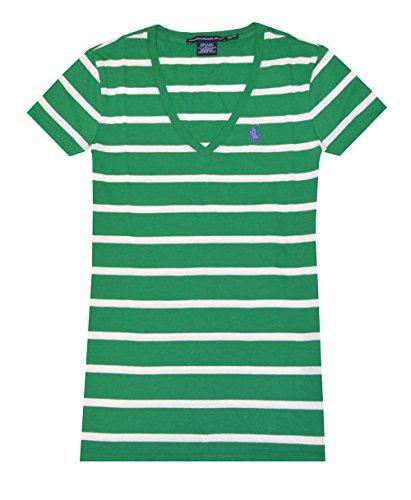 Ralph Lauren Sport Women Striped V-neck Pony Logo T-shirt (XS, Green/Cream)