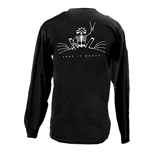 Peace Frogs Rest in Peace Glow Frog Adult Long Sleeve T-Shirt (Black, Medium)