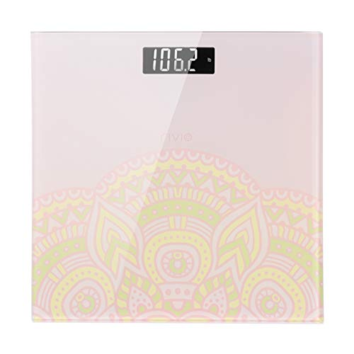 RIVIO Bathroom Scale High Precision Digital Body Weight Scale with Large Backlit LCD Display 440Ib(Pink)