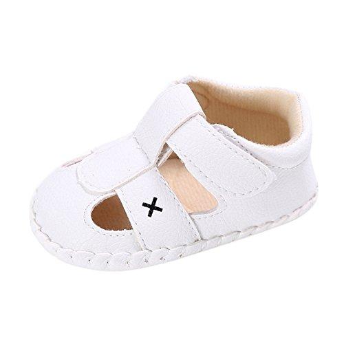 BOBORA Bebe Binos Sandalias Suave PU Cuero Antideslizante Zapatos De Verano blanco