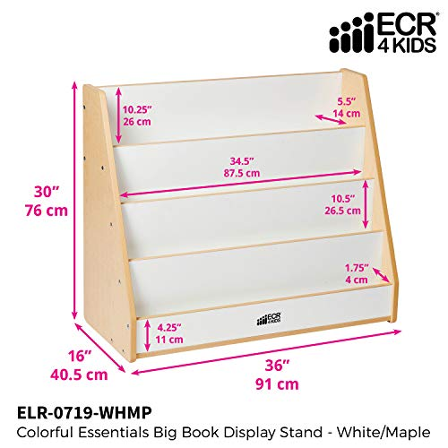 ECR4Kids Colorful Essentials 4-Tier Book Display Stand, White and Maple by ECR4Kids (Image #2)