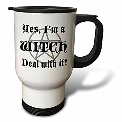 EvaDane - Funny Quotes - Yes, Im a witch deal with it - Travel Mug